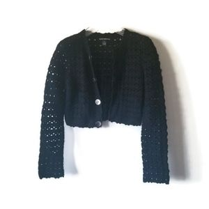 Club Monaco Cardigan Crochet Angora Black sz S